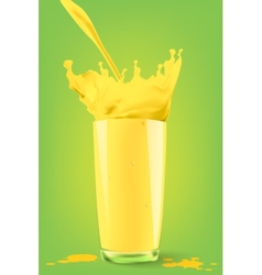 Pouring juice into a glass on a green background vector image vector image