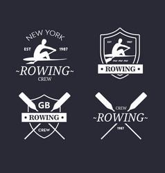 rowing team logo emblem of rowing crew vector image