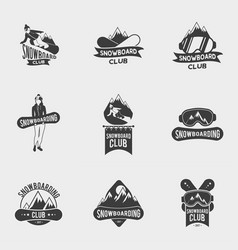 set of snowboard club logos labels or badges vector image vector image