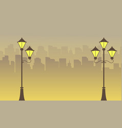 Silhouette of town and street lamp scenery vector