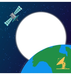 Space satellite orbiting above the earth vector