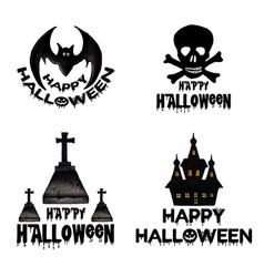 Watercolor halloween logo designs vector