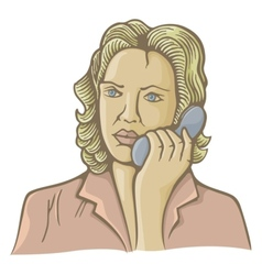 woman on phone vector image