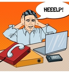 Pop art stressed businessman at the office work vector