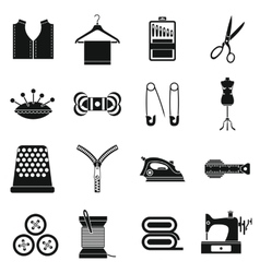 Sewing icons set simple style vector image