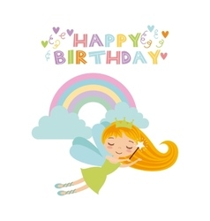 Fairy birthday card vector