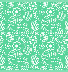 Eastern seamless pattern with eggs and flowers vector