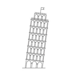 leaning tower of pisa italy line icon vector image