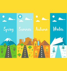 Flat design 4 seasons road set vector