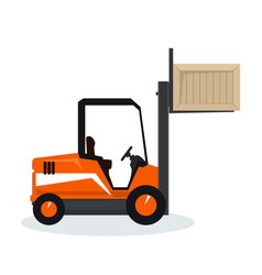 Orange forklift lifted the box up vector
