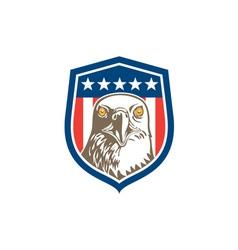 American Bald Eagle Head Stars Shield Retro vector image