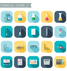 Chemical icons chemical glassware flat design vector