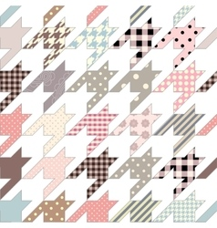 Hounds-tooth geometric pattern of patchworks vector