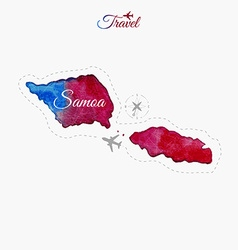 Travel around the world samoa watercolor map vector