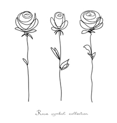 Roses Collection of isolated flower sketch vector image