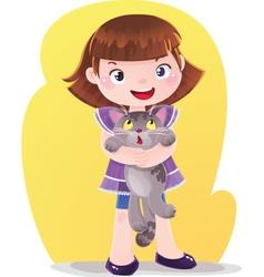 Cartoon of Girl with Kitten Pet vector image