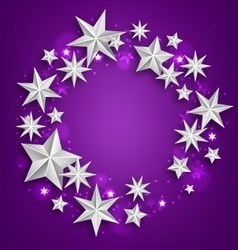 Abstract Greeting Round Frame Made of Silver Stars vector image vector image