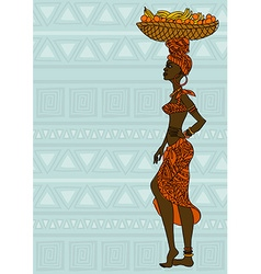 African girl with fruit basket on the head vector