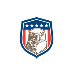 American Bald Eagle Head Stars Shield Retro vector image