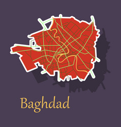 Baghdad city map - iraq sticker isolated on vector