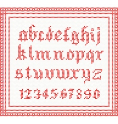 Christmas font knitted gothic alphabet vector