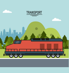Colorful poster of transport with train on the vector