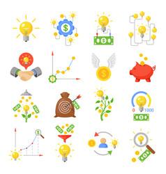 Crowd funding icon set vector