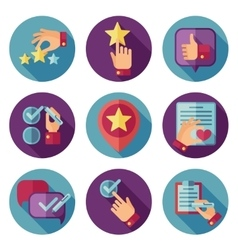 Customer service flat icons set vector image