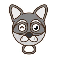 cute raccoon face kawaii style vector image