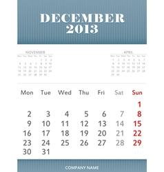December 2013 calendar design vector