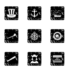 Discovery of america icons set grunge style vector