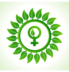 Eco male symbol inside the leaf background vector image vector image