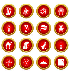 Egypt travel items icon red circle set vector