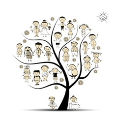 Family tree relatives people sketch vector image