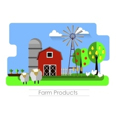 Farming background with barn vector image