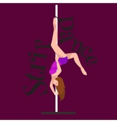 Female Pole dancer woman dancing on pylon sexy vector image