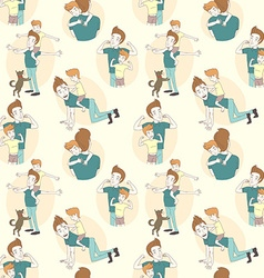 Festive seamless doodle pattern for fathers day vector image vector image