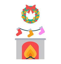 Fireplace and socks hanging above decor wreath vector