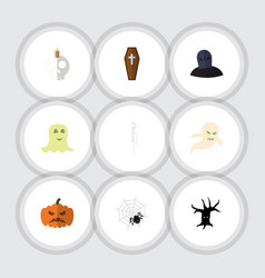 Flat icon halloween set of casket spinner vector