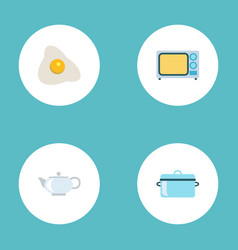 Flat icons electric stove teapot omelette and vector