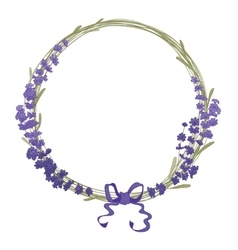 Floral wreath of lavender flowers isolated on vector image vector image