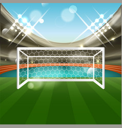 Football stadium with soccer goal net grass and vector