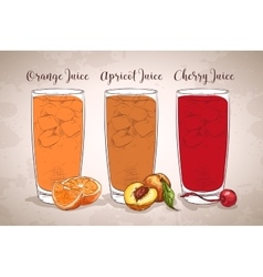 Glasses of juices on a retro background vector image