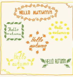 hello autumn badge sketch vector image vector image