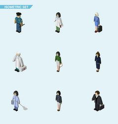 Isometric person set of investor businesswoman vector