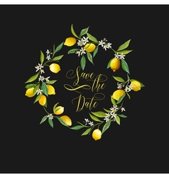 Lemons and flowers card fruit background vector