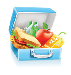 lunch box with sandwich apple vector image vector image