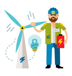 man wind power flat style colorful cartoon vector image vector image
