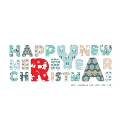 Marry christmas and happy new year lettering vector