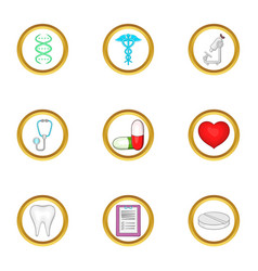 medical life icon set cartoon style vector image